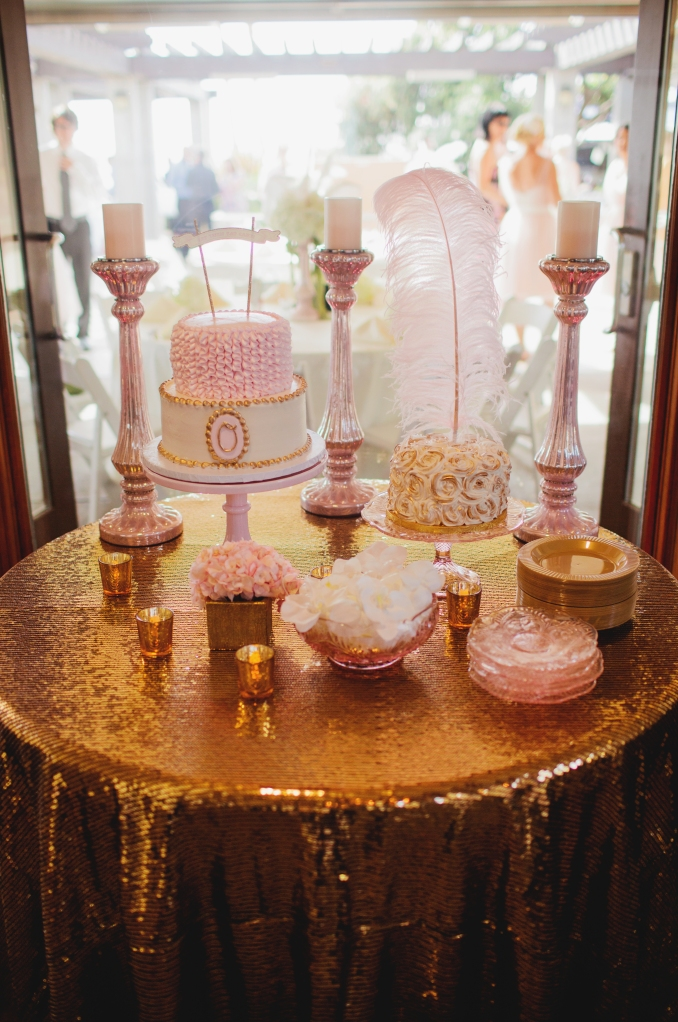 cake table, gold, pink-Darcy Oliver Design