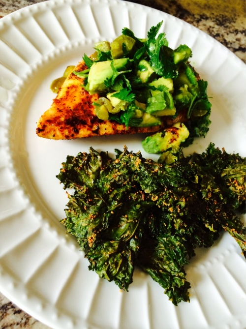Seared Avocado & Cilantro Chicken, Kale Chips-Darcy Oliver Design