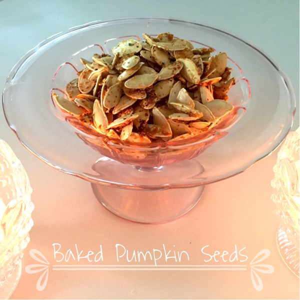 baked pumpkin seeds, vintage glass, pink, recipes-Darcy Oliver Design