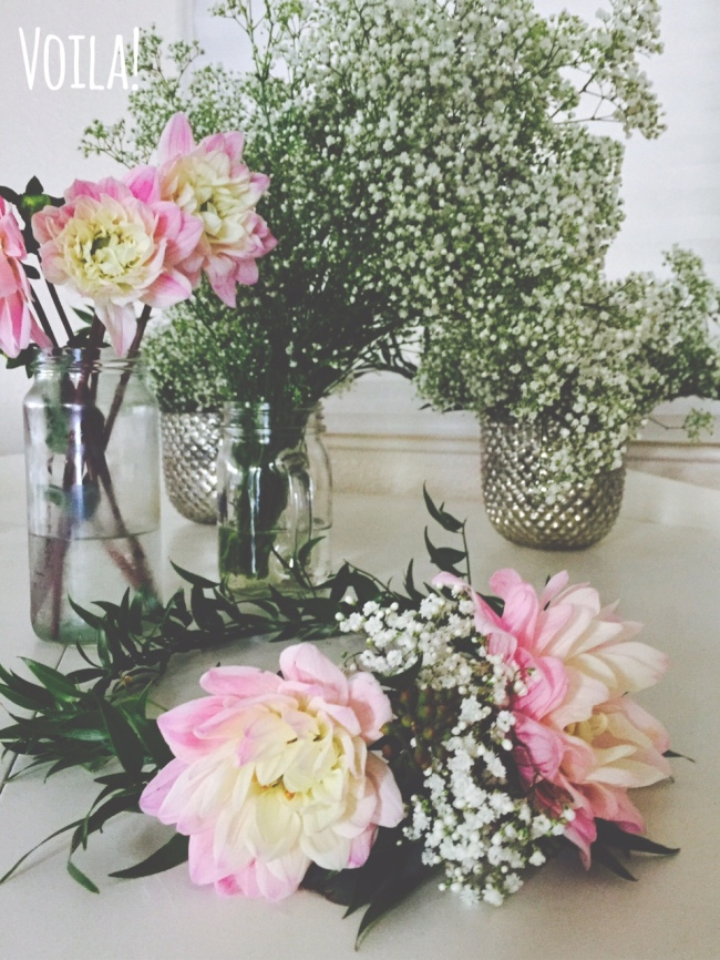 floral crown, pink dahlias, baby's breath-Darcy Oliver Design