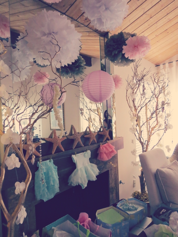 mermaid baby shower decor, onesie garland-Darcy Oliver Design