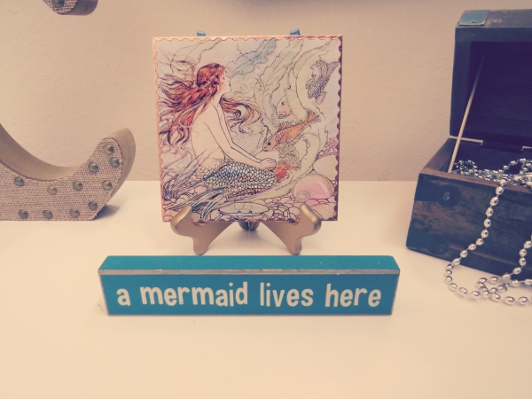 mermaid sign, baby shower games-Darcy Oliver Design