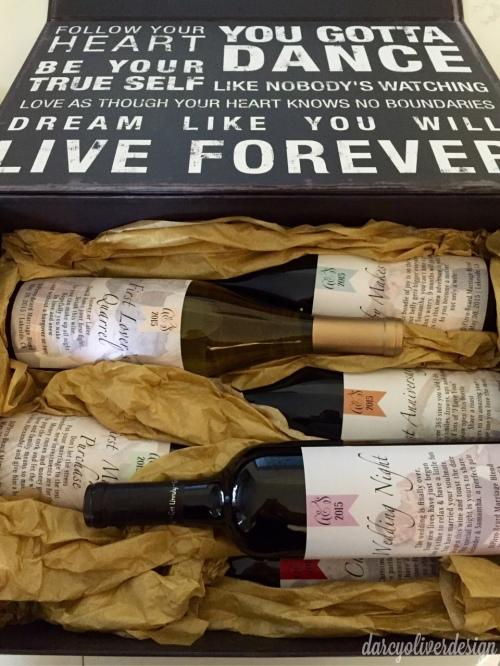 bridal shower gift, wine labels-Darcy Oliver Design