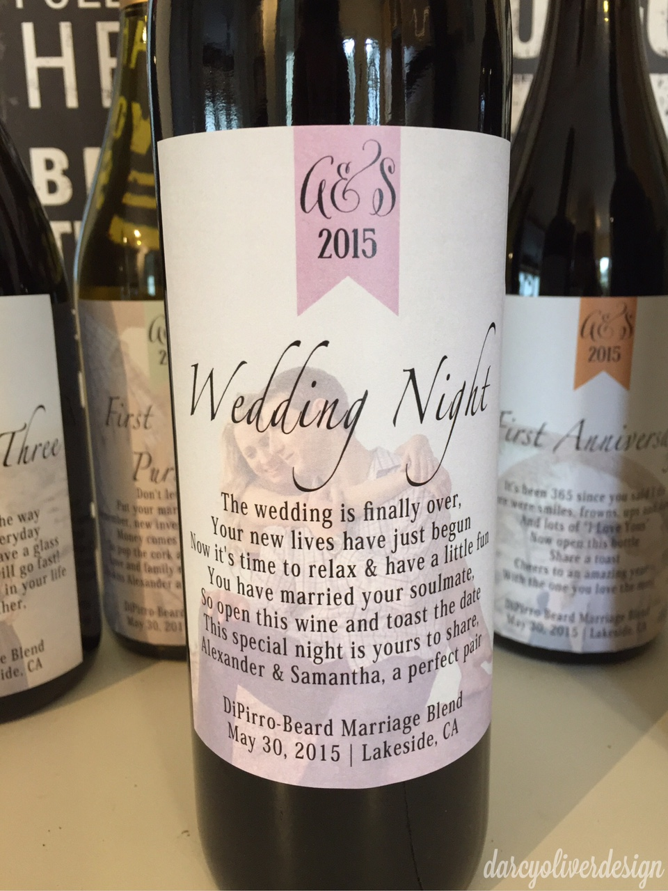 Custom Wine Labels : Wedding or Bridal Shower Gift darcyoliverdesign