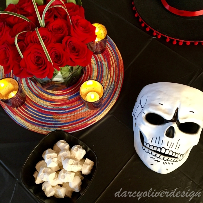 Centerpieces with homemade Sugar Skull Candies-darcyoliverdesign