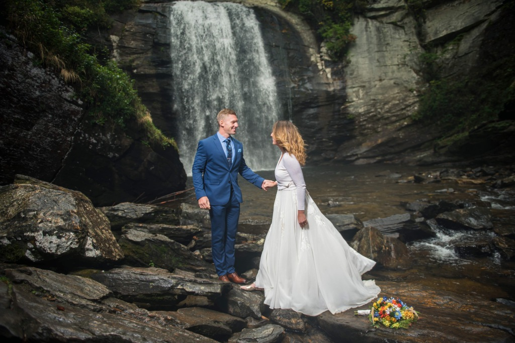 Waterfall Wedding and Bouquet